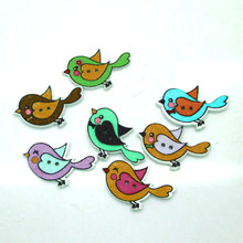 50Pcs/Lot Mix Cute Birds Botones Knopf 2 Holes Printing Wooden Buttons Scrapbooking Sewing Accessories 30*20mm