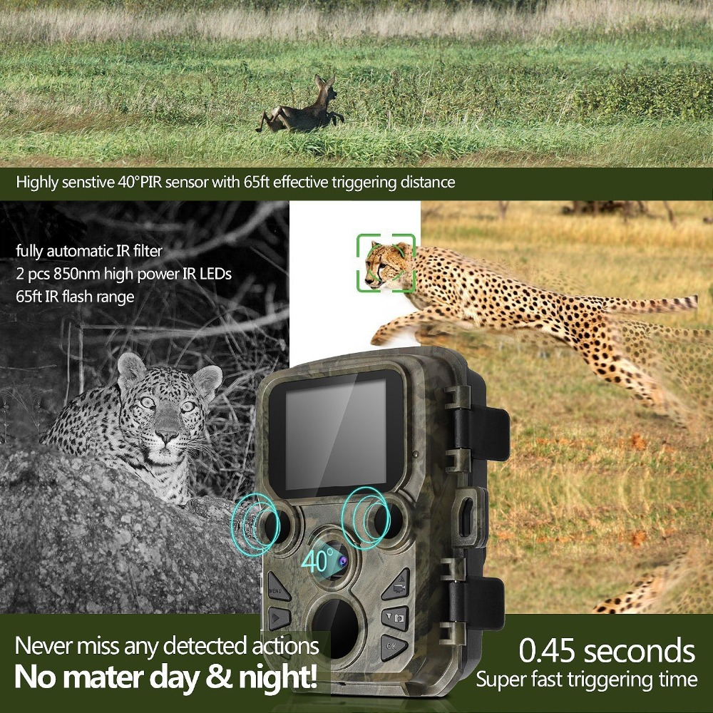 Mini Trail Camera Chasse 12MP 1080P Night Vision Hunting Game Camera Photo traps 0.45S Motion Activated Wildlife Scout Camera (8)