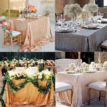 Lootus 120x180cm Sequin Tablecloth Nappe Toalha De Mesa Rectangle Table Cloth Party Festival Gold Decoration(China)