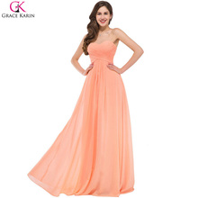 Grace Karin Chiffon Orange Evening Dresses Long Formal Dinner Dress A Line Sweetheart Prom Gowns Summer Special Occasion Dress(China)
