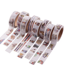 Cute Cat color paper washi tape 15mm*7m masking decorative stickers for frame notebook scrapbooking Stationery 1072