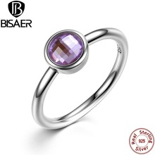 Classic 925 Sterling Silver Rings Poetic Droplet Purple CZ Finger Ring with Glass Stone  Jewelry WEU7186