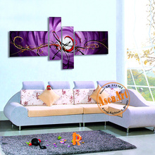 4pcs Hand Painted Oil Painting on Canvas Modern Wall Art Picture Purple Flower Pattern Canvas Wall Art Home Decoration No Frame