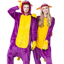 Purple Dinosaur Cartoon Homewear Animal Halloween Chinese Market Online Pajamas Sleepwear Onesies Pajama For Women Men Couples(China)