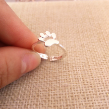 Wholesale 10 pcs/Lot New Dog Cat Paw Print Ring Silver Gold Pink Adjustable Size Suit for All Cute Women Girls Festival Gift