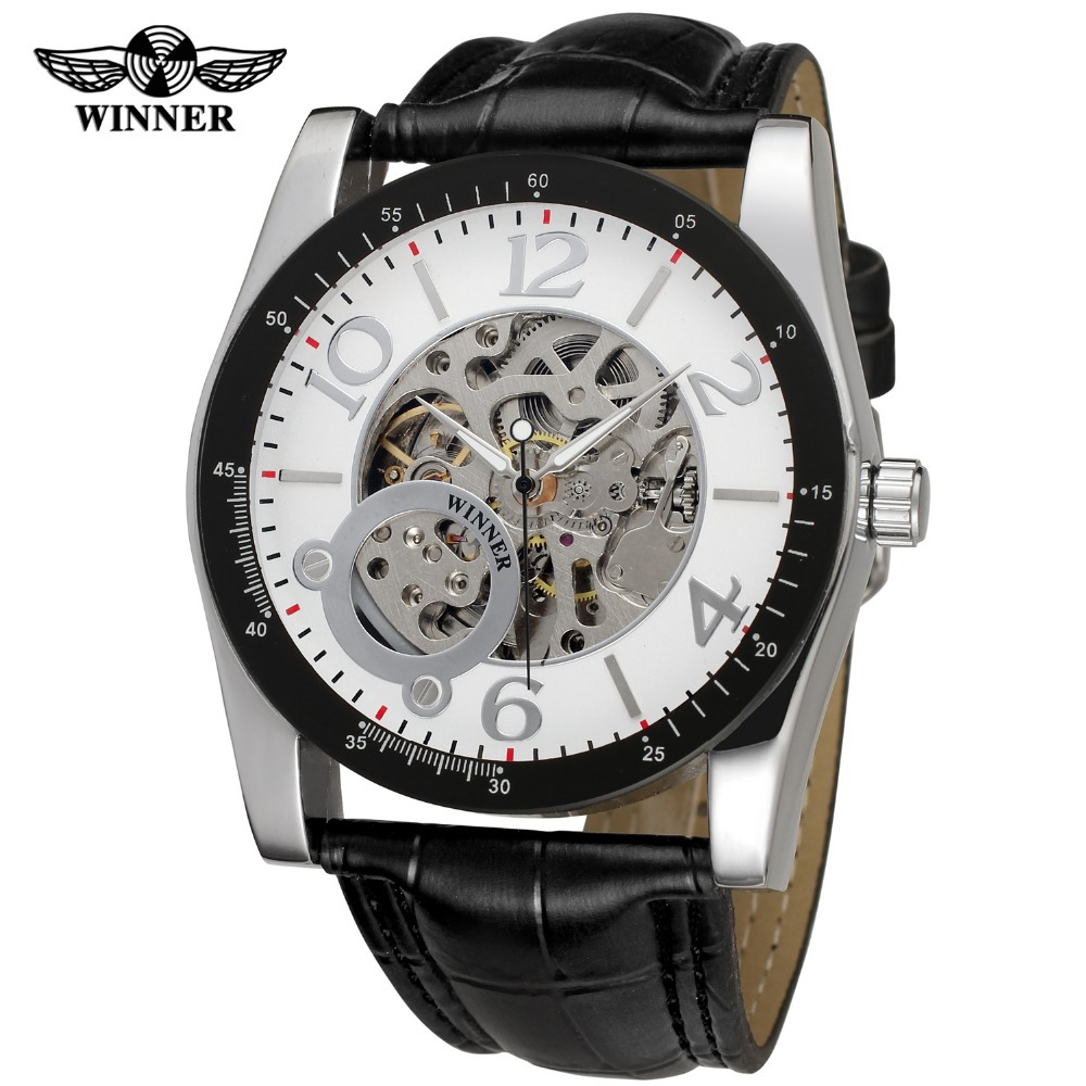 Winner Mens Watches New Style Fashion Round Charming Genuine Leather Strap Famous Brand Wristwatches Color White WRG8102M3<br>