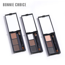 BONNIE CHOICE 3 Color Eyebrow Enhancer Pro Makeup Eyebrows powder Long-lasting Waterproof With Brush Mirror Cosmetic Kits