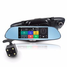 "7"" Car DVR in Mirror + Rear View Camera 3G Android GPS Navigation Bluetooth WIFI Dual Lens HD Recorder 1080P Dash Cam"