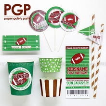 [PGP] American Football Party Set Cup Topper Straw Bag Super Bowl Sunday Rugby Baby shower Boy Birthday Sport NFL CFL Touch Down(China)