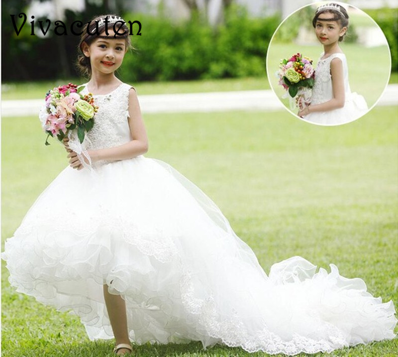 Flower Girls Dresses Ball Gown Lace First Holy Communion Dress For Girls Princess White Dresses For Wedding With Long Train F226