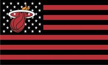 Miami Heat logo with  US stars black and red stripes Flag 3FTx5FT  Banner 100D Polyester  flag 90x150cm