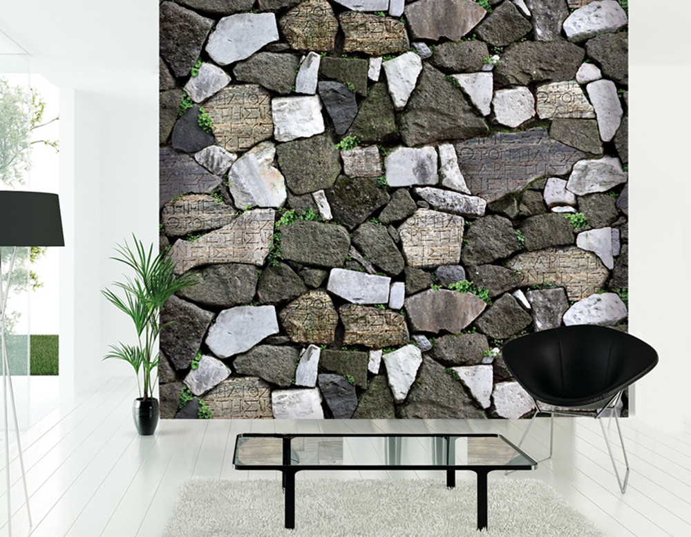 HaokHome Modern Faux Stone Wallpaper Grey w/Green Grass Textured Brick Rolls Living room Bedroom Home Wall Decoration<br>
