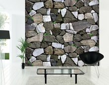 HaokHome Modern Faux Stone Wallpaper Grey w/Green Grass Textured Brick Rolls Living room Bedroom Home Wall Decoration(China)