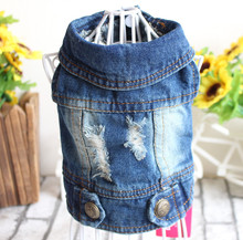 2017 pet clothes with hole cowboy jean clothes for small dogs spring and summer teddy dog clothes factory direct sale dog vests