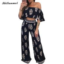 Buy 2018 Summer Boho Women Clothing Set Shoulder Crop Top Blouses + Wide Leg Pant Floral Printed Beach Wear Party Sexy Suit for $16.00 in AliExpress store