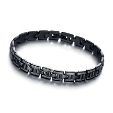 Fashion 197mm Black Stainless Steel Bracelets & Bangles Great Wall Pattern Punk Men Accessories New 2017 BA101306