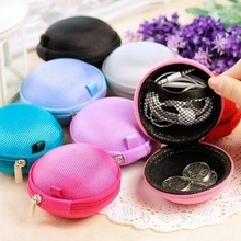 XZHJT Fashion Portable Mini Round Silicone Coin Purse Bag For Earphone SD Cards Cable Cord Wire Storage Key Wallet 8x5cm