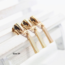 3# Wholesale 10pcs Zipper nice gold Metal Zipper Pulls zipper Head For Handbag/ Backpack/Clothing/Sewing Tailor Tools,t28