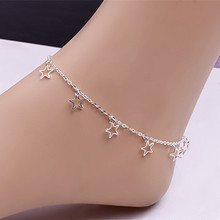 Hot Sale Simple Five-pointed Star Anklets Chain For Women Girls Silver Plated Hollow Out Star Anklet Sandal Beach Foot Jewelry(China)