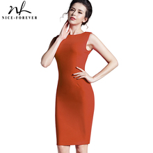 Nice-forever European Pop Star Plus Size Women Sleeveless summer Formal Business Office Zip Knee Length Bodycon Pencil Dress 255