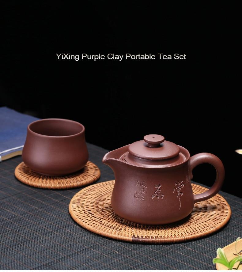 Travel Tea Set Ceramic Gongfu tea pot 2 cup Portable Packaging Xishi Pot 2 Cups