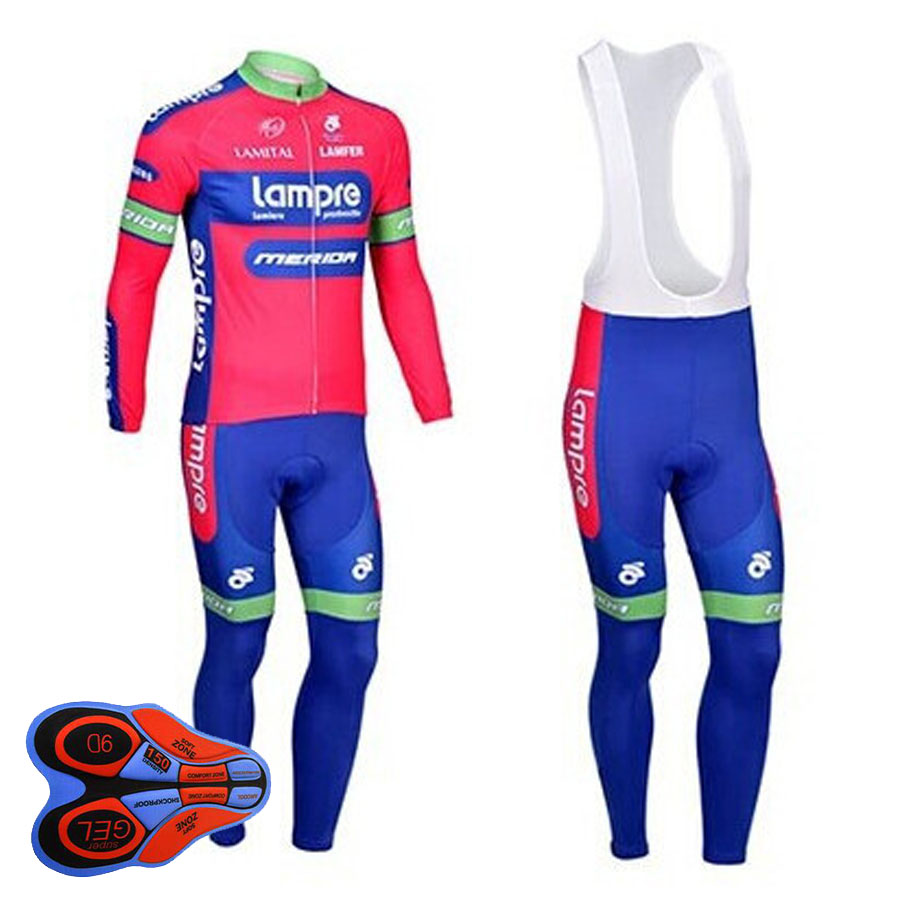 Winter Cycling Jerseys GEL PAD Breathable Thermal Fleece Jerseys And Bib Pants Sets<br>