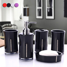 Bathroom Accessory Set Acrylic 5 Piece Soap Dispenser Bottle Soap Dish Cup Toothbrush Holder Case Caddy HG99(China)