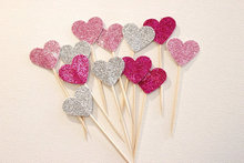 Silver Pink Mixed Lovely Hearts Party cupcake toppers picks decoration for Kids Birthday party Cake favors Decoration supplies