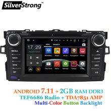Free shipping Quad Core Android 2 din Car DVD for Toyota Auris hatchback 2GB RAM Car Radio GPS For Toyota Car stereo
