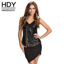 HDY Haoduoyi Sexy Female Tank Sequins Slim Tank Backless Party Women Tank Tops Deep V-neck Sexy Black Solid Women Tops(China)