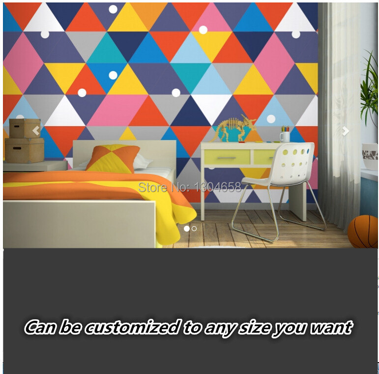 Free shipping custom large childrens room mural living room TV background wallpaper Colourful Geometry Mural Wallpaper<br>