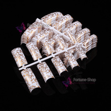 100pcs Beauty French Nail Tips Gold And White Floral False Acrylic Nails Full Cover Natural False Nails Art Tips Salon F513(China)