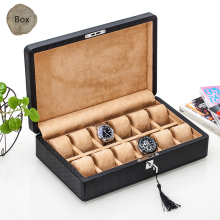 Top 12 Slots Leather Watch Boxes Fashion Black Carbon Fiber Watch Storage Box With Lock Watch And Display Watch Gift Case C079