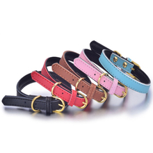 2017 Good Quality Leather Pet Collars Luxury Genuine Leather Plain Pet Dog Puppy Collar Animal Pet Accessories For Small Dogs(China)
