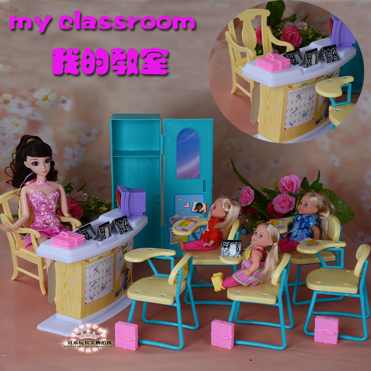 Free Shipping Classroom chairs + blackboard Gift Set doll accessories doll furniture for barbie doll,girls DIY toys play set<br>