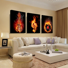 Music 3 Piece Canvas Wall Painting Abstract Home Decor Black Burning Guitar Pop Art Pictures Canvas Decoration Posters HY98