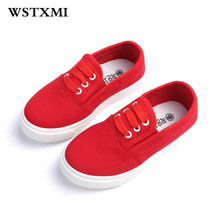 New Children Red Canvas Shoes Spring Summer Boys Girls Sneakers Sport Kids Princess Flats School Training Shoes(Big/Little Girl)(China)