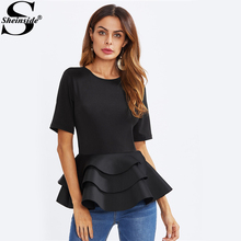 Sheinside Tiered Ruffle Hem Peplum Blouse 2017 Casual Black Round Neck Short Sleeve Layered Blouse Women Elegant Blouse(China)