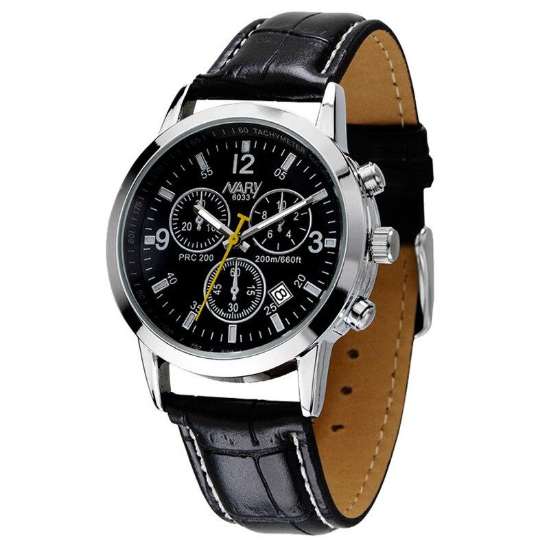NARY Brand Watches Men Luxury Brand Quartz Watch Man Wristwatch Male Calendar Leather Strap Wristwatches Mens Casual Clock 6033<br>