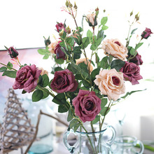 5pcs/lot 92cm oil painting style Rose artificial fake silk flower home wedding party outside decoration crafts plant