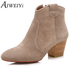 AIWEIYi Genuine leather Ankle Boots Black Motorcycle Boots High Heels Snow Boots Brand Designer Shoes for Women Platform Pumps