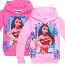 girls Spring Autumn MOANA Hooded long-sleeved Sweatshirts Children's girl clothing 7240 2colors TZ03(China)