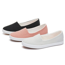 Canvas shoes fashion leisure women casual female Help low canvas casual women shoe students pedal flat shoes pinstripe big yards