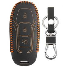 Black PU Leather Remote Smart Key Case Cover with Key Chain For Ford /Mondeo /Mustang Fusion(China)