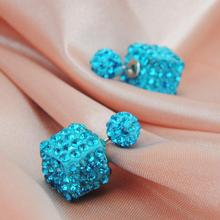 2015 New Double Side Perfume Bottle Earrings Charm Luxury Charming Square Round Shamballa Stud Earrings for Women fine Brincos