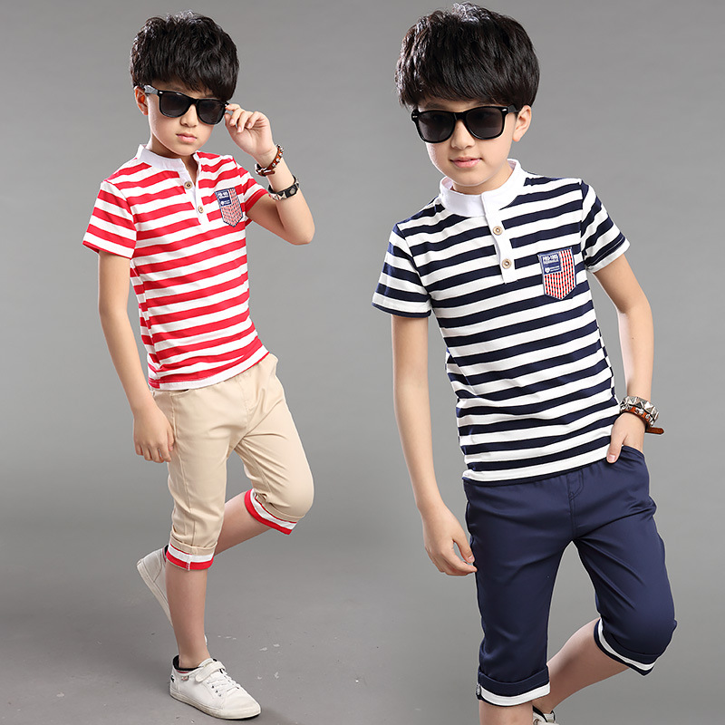 HOT 2017 summer boys striped short sleeve t-shirt ...