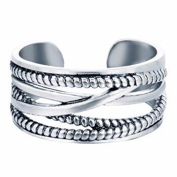 Kinitial 925 Silver Layers Line Oxidized Adjustable Midi Rings Fashion Twrist Cross Ring Jewelry Twist Rings for Women Bijoux