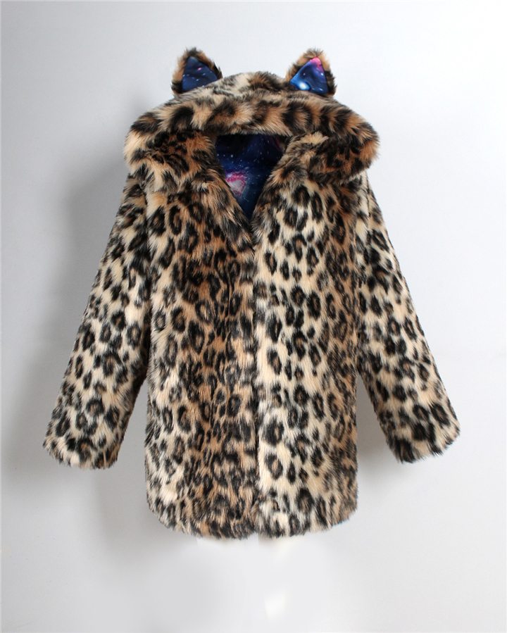 2017 autumn and winter new foreign trade popular animal ear hat imitation fur coat female wild long coat warm jacket5