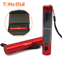 TOPIA STAR Lightweight Solar Torch Led Aluminum Flashlights Red & Silver Gift Lamp Light Charged by Sunlight