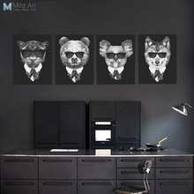 Modern Black Mafia Fashion Animal Deer Fox Poster Print Hippie Wall Art Picture Nordic Vintage Home Decor Painting No Frame Gift(China)